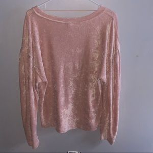 free people crushed velvet long sleeve blouse